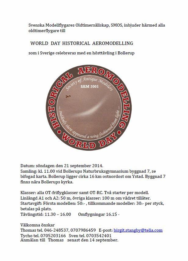 inbjudan till world day historical aeromodelling